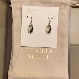 Kendra Scott Lee Silver Drop Earrings Black Pearl